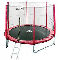 Батут спортивный Atleto 404см двойные ноги сетка для прыжков и фитнеса красный (высота 260 см лестница), фото 1