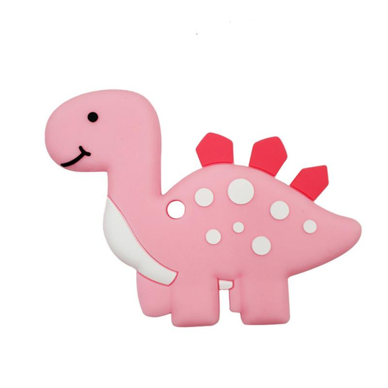 Прорезыватель Динозаврик, розовый