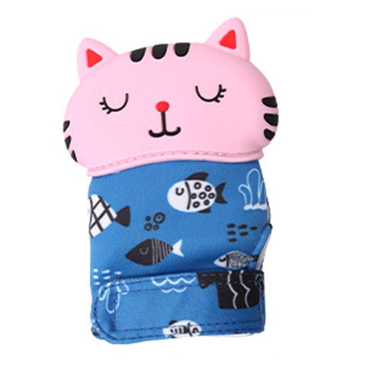 Прорезыватель - перчатка Кот рыбак, розовый