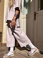 Костюм женский повседневный  летний хлопковый тонкий с укорочеными штанами   трикотажный сиреневый  XS-S