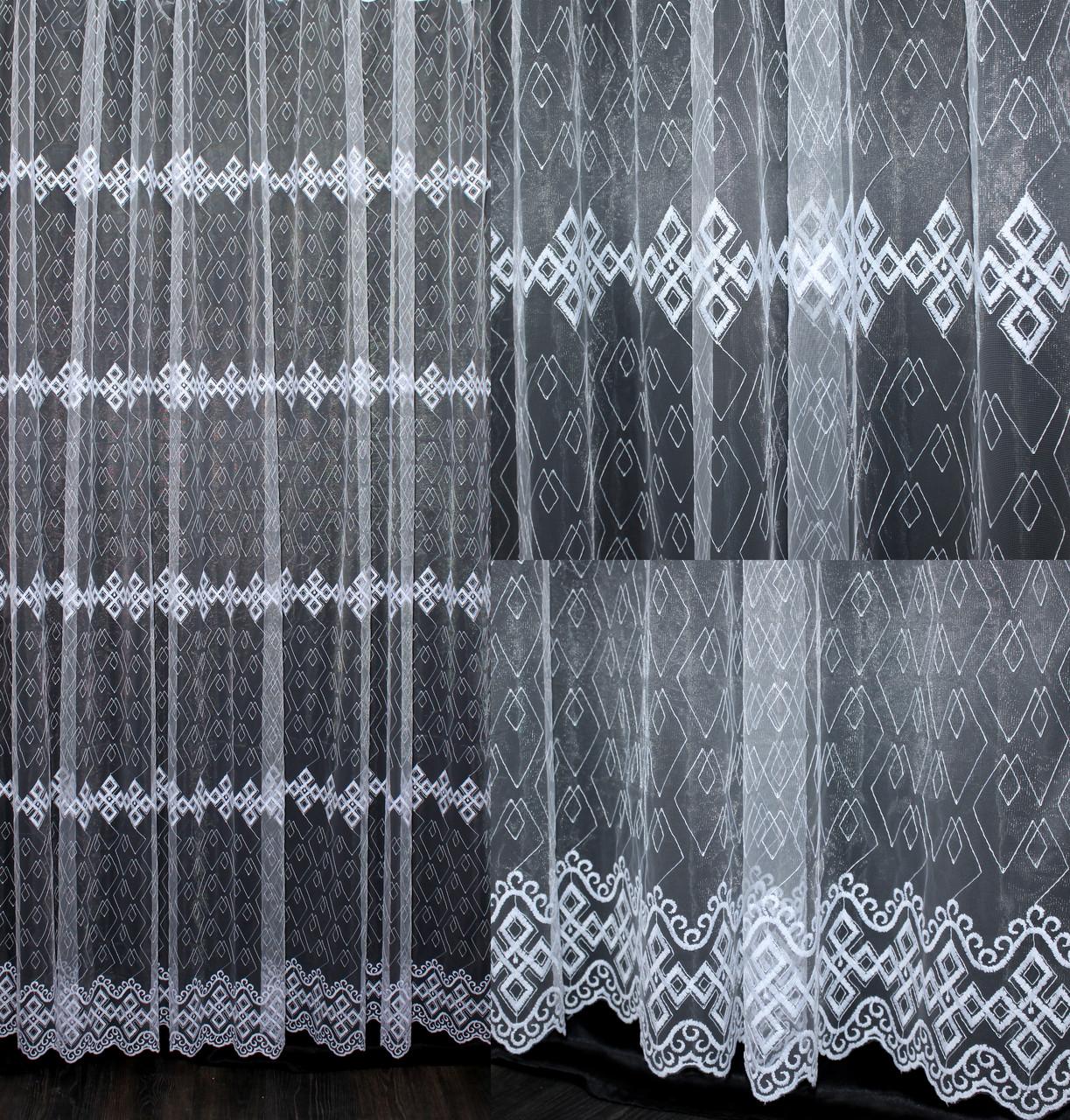 Гардина (3*2,5м) фатин с вышивкой. Цвет белый. Код 541т 40-221
