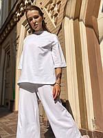 Костюм женский повседневный  летний хлопковый тонкий с укорочеными штанами   трикотажный  белый  M-L