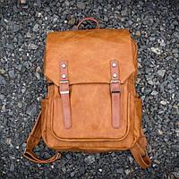 Вместительный кожаный городской мужской рюкзак mod.WNDR оранж тан, на 18л для ноутбука, планшета