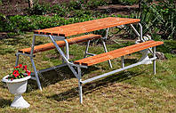 Скамейка - Стол 3 в 1 (серый каркас) (Длина 1600 мм)