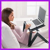 Подставка для ноутбука с охлаждением, Кулер, Охлаждающая подставка, Столик Laptop Table T8 Черный