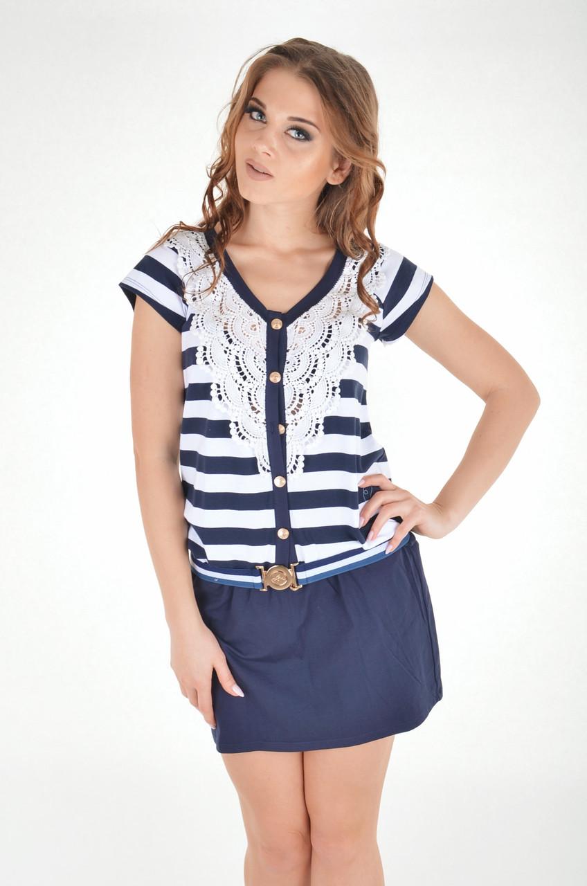 Платье женское в полоску с кружевом, Ora