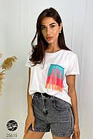 Женская футболка белая с бахромой. Модель 25615. Размер 42/46, фото 1
