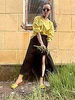 Юбка миди женская стильная городская с разрезом черная M