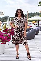 Летнее платье женское большого размера 50, 52, 54, 56, платье короткий рукав, цвет Леопард