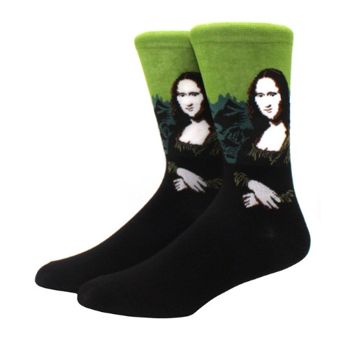 Прикольные мужские носки с принтом Мона лиза