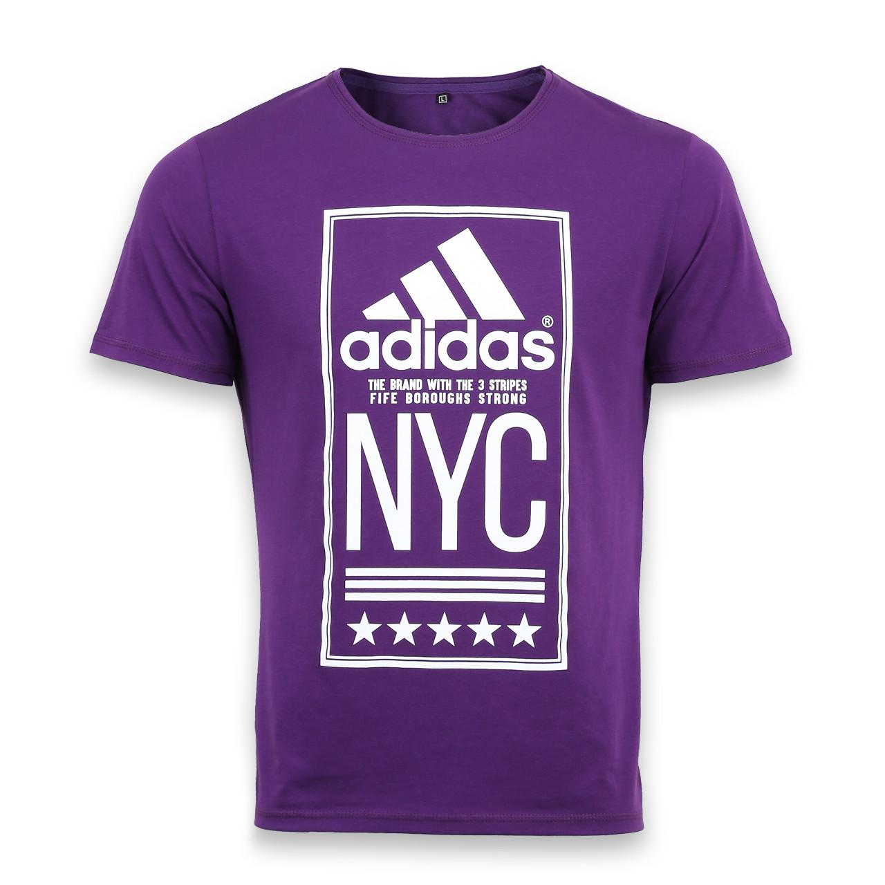 """Футболка спортивная фиолетовый ADIDAS с принтом """"NYC""""  PUR L(Р) 19-900-020"""