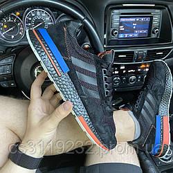 Мужские кроссовки  Adidas ZX x TFL 500 Black and Blue (черные)