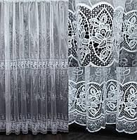 """Нарядная тюль, гардина из ткани  """"Кристалон"""".Цвет: белый. Высота 2,7м, Код 549т"""