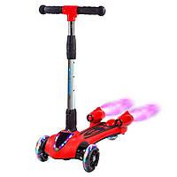 🔝 Детский трехколесный светящийся самокат с турбинами, дымом, музыкой и подсветкой | GLANBER красный | 🎁%🚚