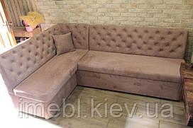 Угловой кухонный диван со спальным местом (Бледно-розовый)