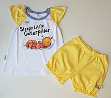 Летний комплект для девочки с короткими шортами и футболкой 80-86 р