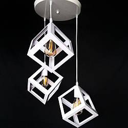 Люстра подвесная на три лампы лофт белого цвета кубы YS-TY001-A/3 WH