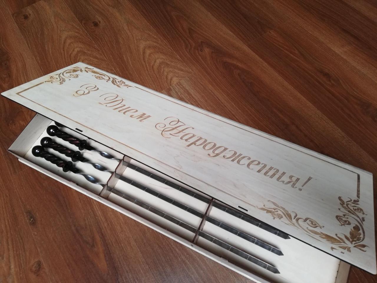 """Набор из 6 шампуров """"Ядро"""" с кованной ручкой в подарочном кейсе (650х12х3 мм)"""