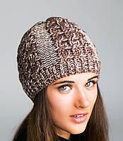 Женская зимняя шапка вязанная (косички, резинка)