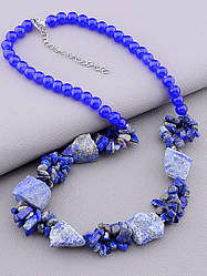 Бусы на шею женские синие из содалита длина 56 см камни натуральные