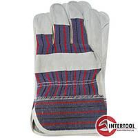 """Перчатки """"Intertool"""" рабочие кожаные (замш.+ ткань) (SP-0150)"""