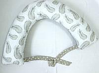 Подушка для беременних , подушка для вагітних ,подушка для кормления 3 в 1 в бежевих тонах 2379