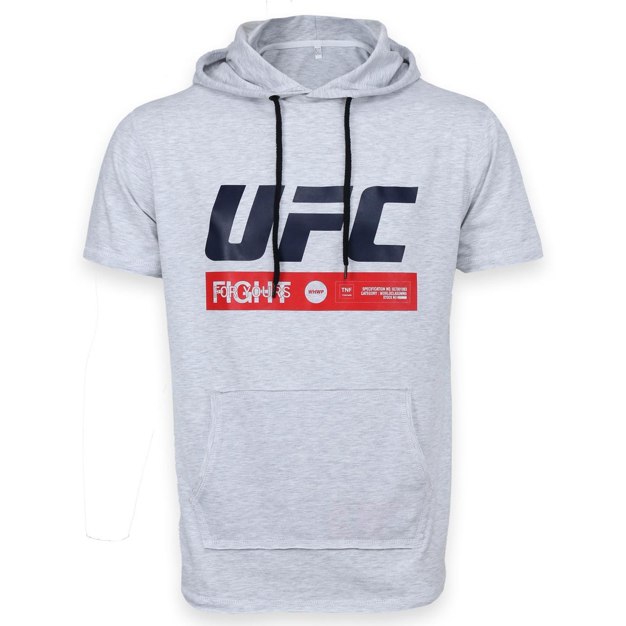 """Футболка спортивная бел меланж UFC """"FIGHT"""" с капюш  Ф-300 WTGRI M(Р) 20-914-020"""
