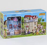 """Вилла """"Счастливая семья"""" для девочек, трёхэтажная, модель 012-10 с мебелью, 2 фигурки, подсветка, в коробке."""