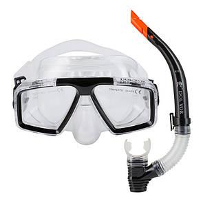 Набор для плавания маска с трубкой Dolvor M4204P+SN52P черный