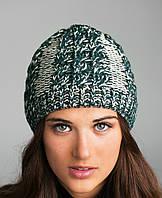 Женская зимняя шапка вязанная (косички, резинка), темно-зеленая