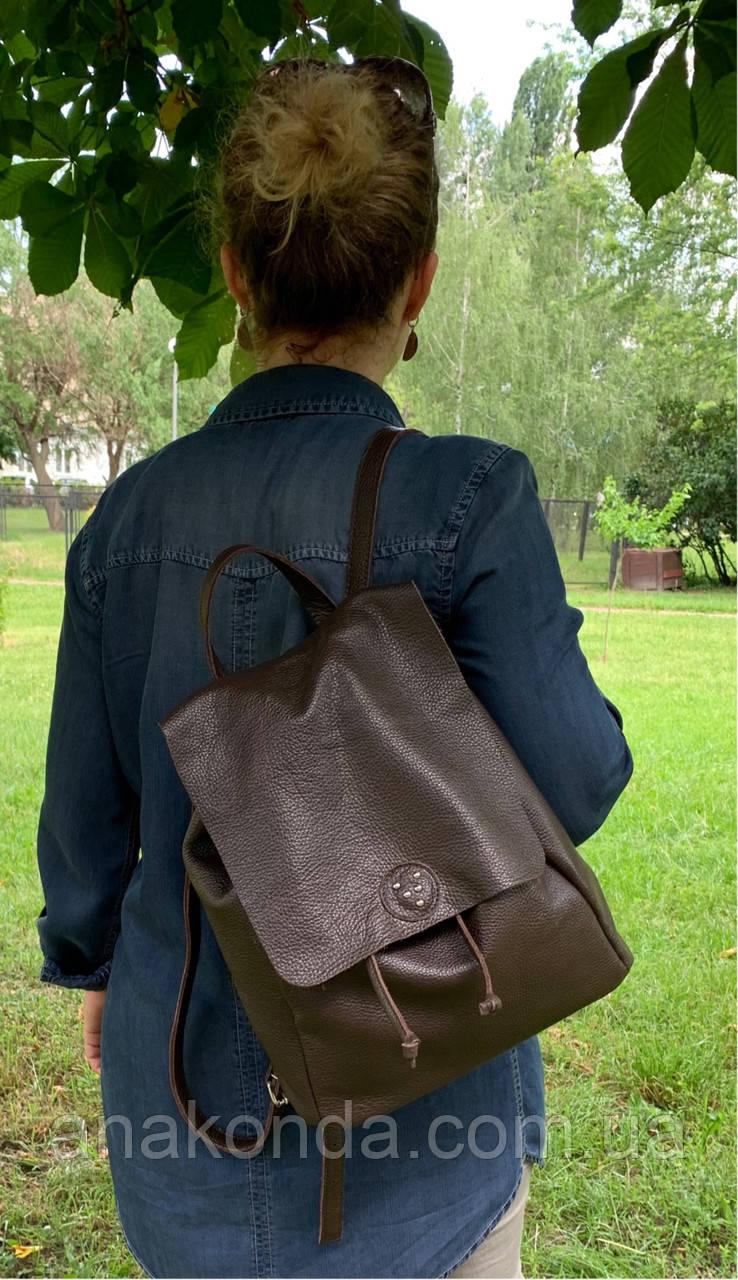664 Натуральная кожа Городской А-4+ рюкзак кожаный коричневый рюкзак женский из натуральной кожи коричневы А4+