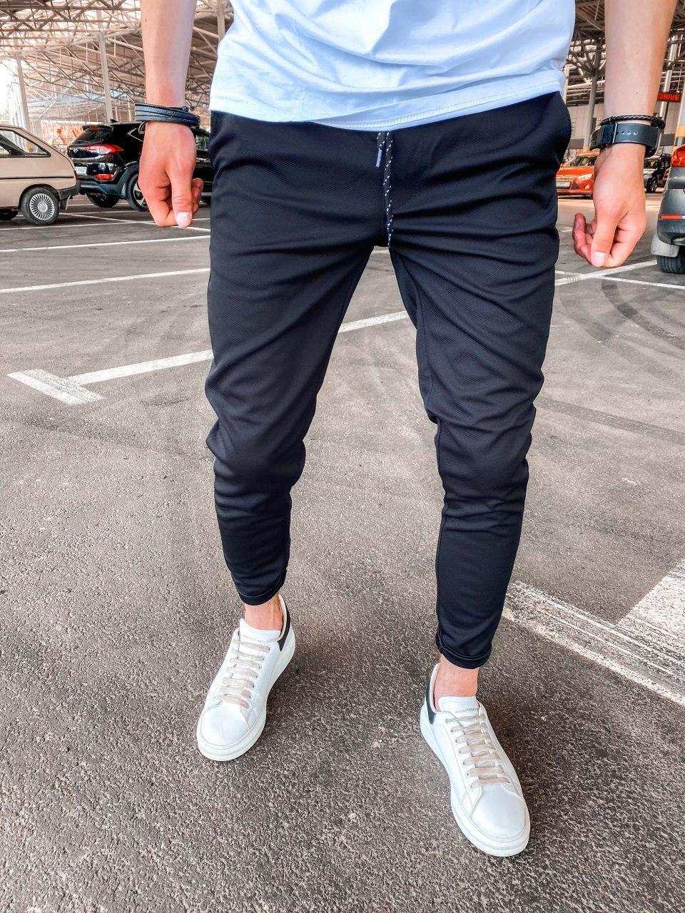 Спортивные брюки  - Мужские спортивные штаны (черные) хлопок