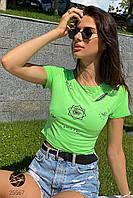 Зеленый кроп-топ с принтом. Модель 25567, фото 1