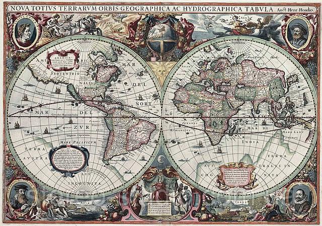 Старинные географические карты мира  в ассортименте