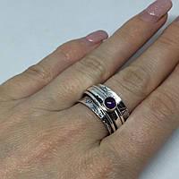Аметист кольцо спиннер с аметистом в серебре 18 размер Индия