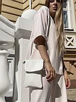 Сумка для телефона женская    с замком  на длинной регулируемой ручке  белая