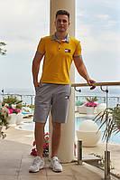 Футболка с шортами желтый с серым