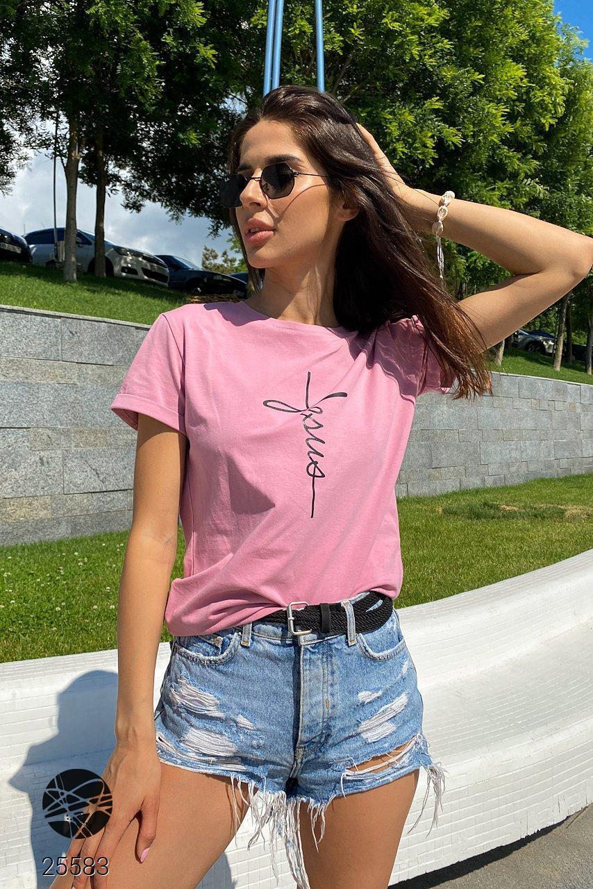 Рожева футболка з вилогами на рукавах. Модель 25583
