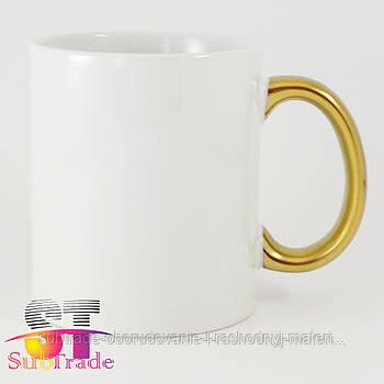 Чашка сублимационная PREMIUM с золотой ручкой