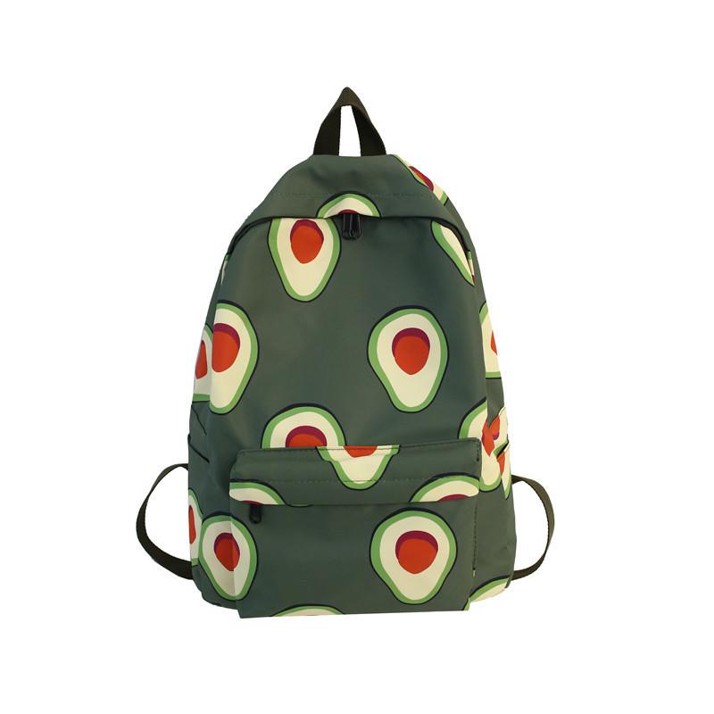Водонепроницаемый рюкзак для подростка с принтом авокадо цвета хаки Lequeen