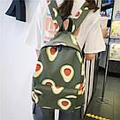 Водонепроницаемый рюкзак для подростка с принтом авокадо цвета хаки Lequeen, фото 2