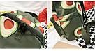 Водонепроницаемый рюкзак для подростка с принтом авокадо цвета хаки Lequeen, фото 5