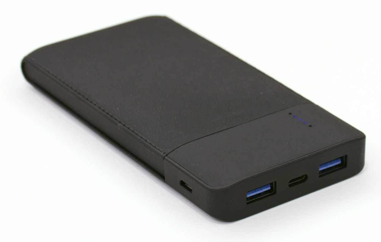 Внешний аккумулятор Power Bank HQ-Tech 550X Black, 10000mAh Li-Po, QC 3.0 QuickCharge, 5V/2.1A, 2xUSB, Type-C