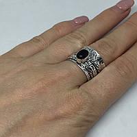 Черный оникс кольцо спиннер с черным ониксом в серебре 17,3 размер Индия