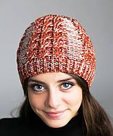 Женская зимняя шапка вязанная (косички, резинка), терракотовая