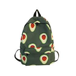 Водонепроницаемый рюкзак для девочки подростка с принтом авокадо цвета хаки Lequeen (AV251)