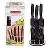 Набор ножей Kamille 6 предметов из нержавеющей стали с полыми ручками на акрил.подставке (5 ножей+подставка) KM-5131B
