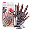 Набір кухонних ножів Kamille і ножиці на акриловій підставці 8 предметів KM-5136