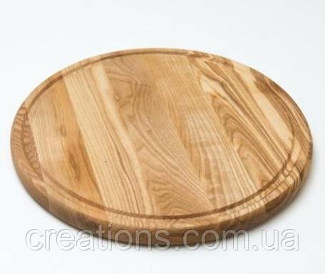 Доска для пиццы 40 см. круглая деревянная разделочная доска из ясеня, дуба РД-9