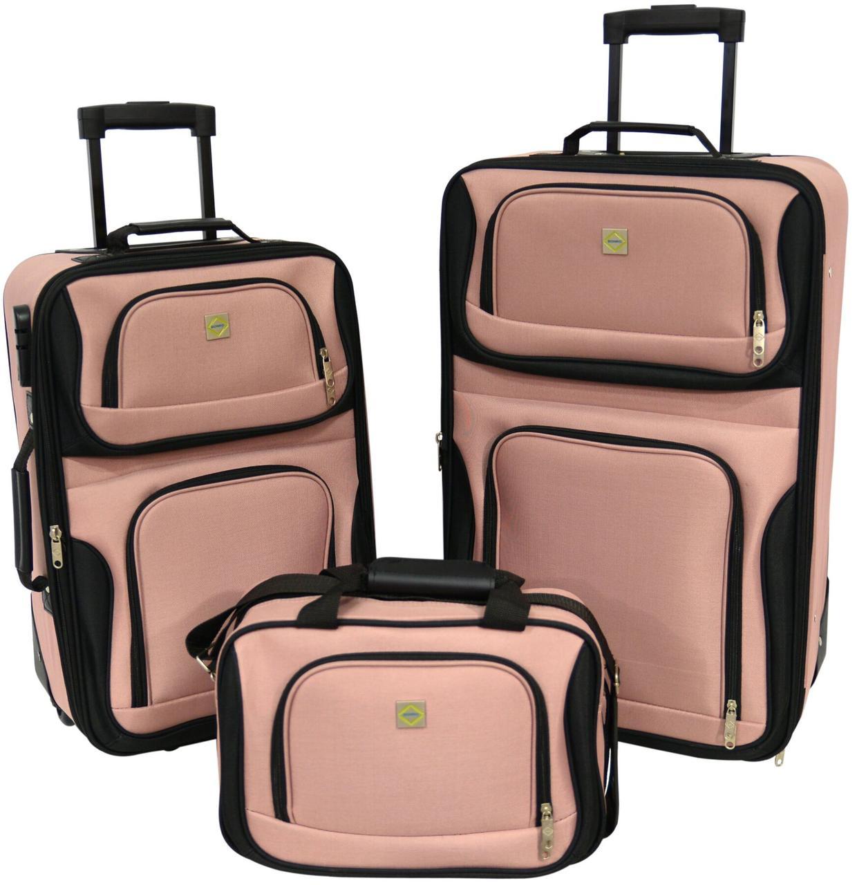 Набор чемоданов дорожных 2 шт + сумка Bonro Best розовые (есть кодовый замок)